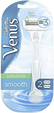 Gillette Venus Smooth Sensitive Women's Razor - 1 Handle and 2 Blade Ref