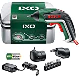 Bosch Cordless Screwdriver IXO V Full Set (Integrated Battery, 3.6 Volt, Angle Adapter, Off-Set Angle Adapter, 10 Screwdriver Bits, Micro USB Charger Included, in Case)