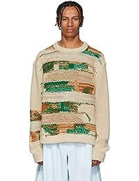 (アクネ ストゥディオズ) Acne Studios メンズ トップス ニット・セーター White & Green Irregular Striped Crewneck Sweater [並行輸入品]