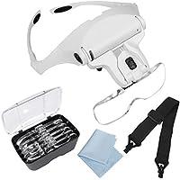 [Qooltek]Qooltek Eyeglass Bracket/Headband Magnifier with 2 LED Lights and 5 Interchangable Lenses: 1.0X, 1.5X, 2.0X, [並行輸入品]