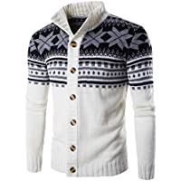 zhruiqun Mens Single Breasted Winter Button Sweaters