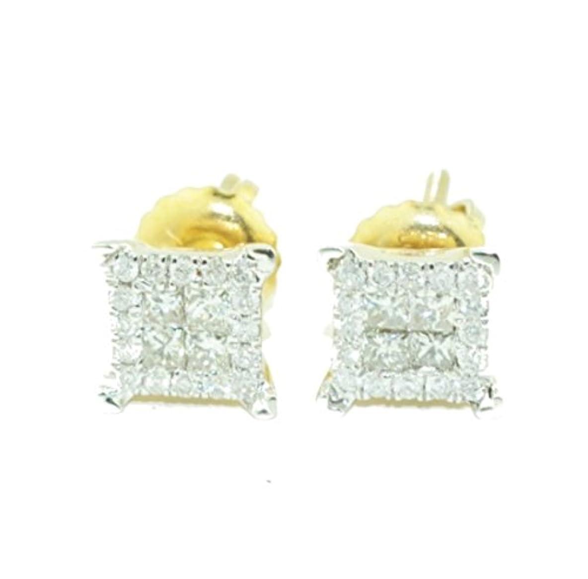 パラダイスどちらか一般的に言えばメンズのゴールドイヤリングプリンセスカットダイヤモンドスタッドイヤリングGuys 10 Kゴールド6.5 MM