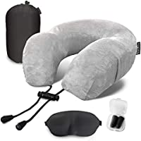 Travel Neck Support Memory Foam Pillow With Mobile Phone Pocket - Airplane Travel Kit with 3D Memory Foam Eye Mask, Earplugs and Bag - Comfortable And Breathable, Grey