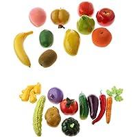 Perfk 現実的 人工 野菜 フルーツ 生き生き 幼児教育小道具 20個 写真 映画 小道具