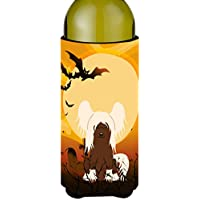 Carolines Treasures BB4379LITERK Halloween Chinese Crested Cream Wine Bottle Beverge Insulator Hugger