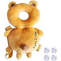 赤ちゃん 乳幼児用 ごっつん防止 後頭部を保護 安全パッド で 衝撃吸収 やわらか リュック (こぐま(オレンジ))