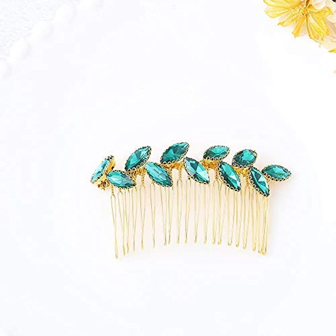 輸血送信するカヌーJovono Bride Wedding Hair Comb Bridal Headpieces with Green Rhinestone for Women and Girls (Gold) [並行輸入品]