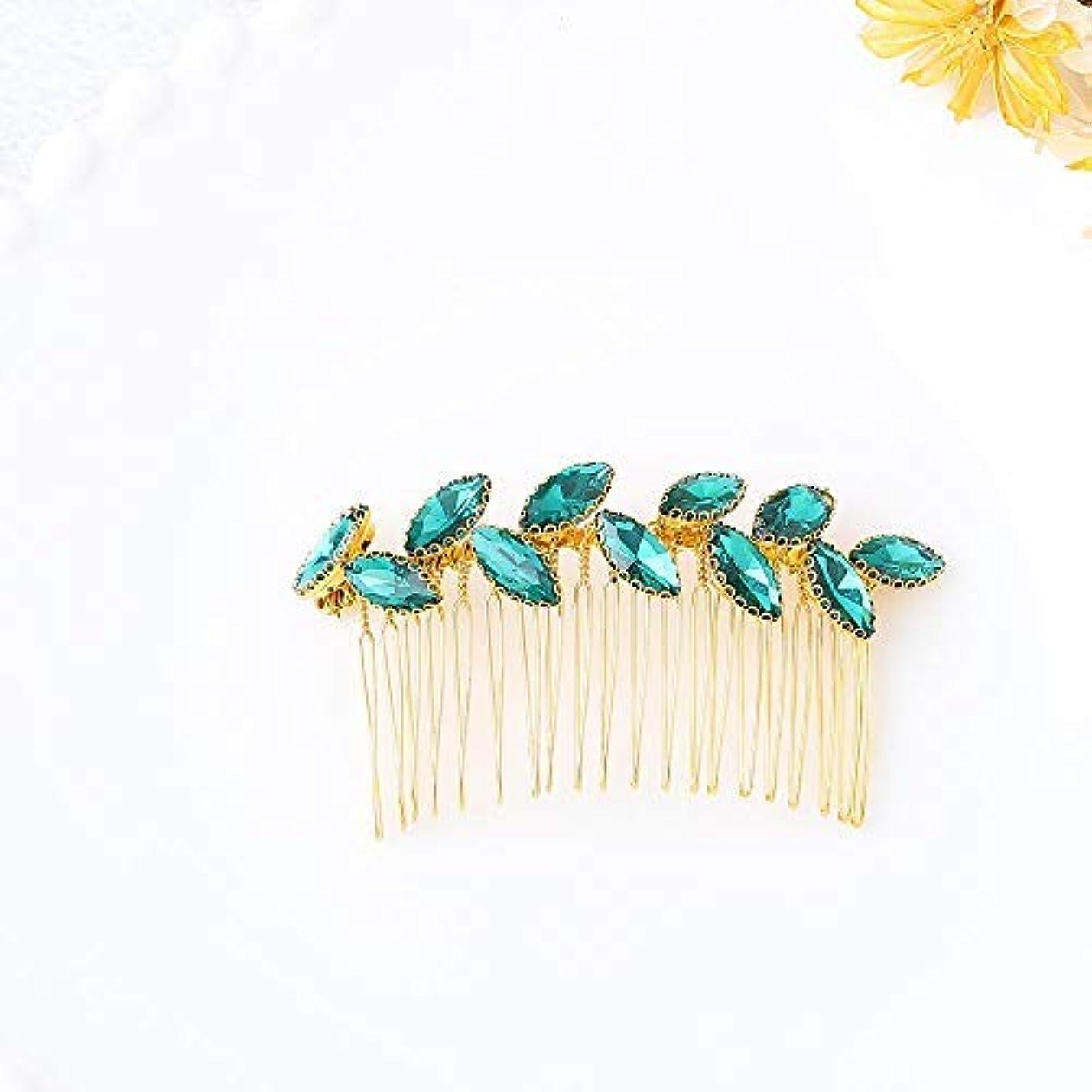 責め独特の発送Jovono Bride Wedding Hair Comb Bridal Headpieces with Green Rhinestone for Women and Girls (Gold) [並行輸入品]