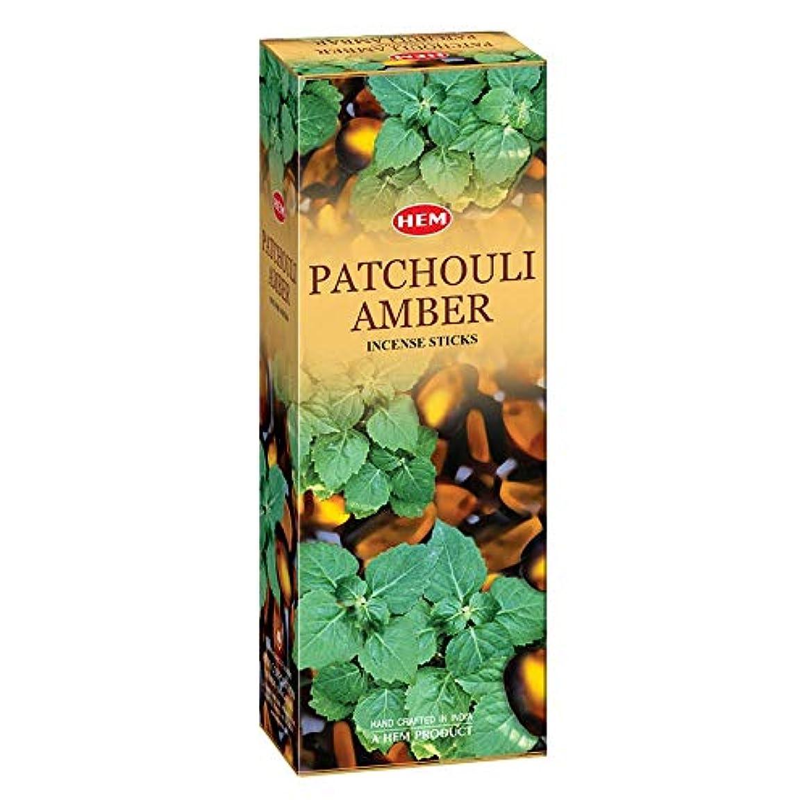ダブル学期ハリウッドHem Patchouli Amber Incense Sticks(9.3 cm X 6.0 cm X 25.5cm, Black)