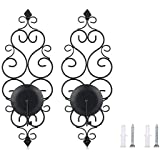 SODIAL 2Pcs Iron Wall Candle Sconce Holder Set of Candle, Wall Sconces Decor for Bedroom Dining Room