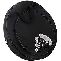 ブラック 600Dオックスフォード布 ポケットシンバルバッグ 21.3 Inch Round Shape 防水