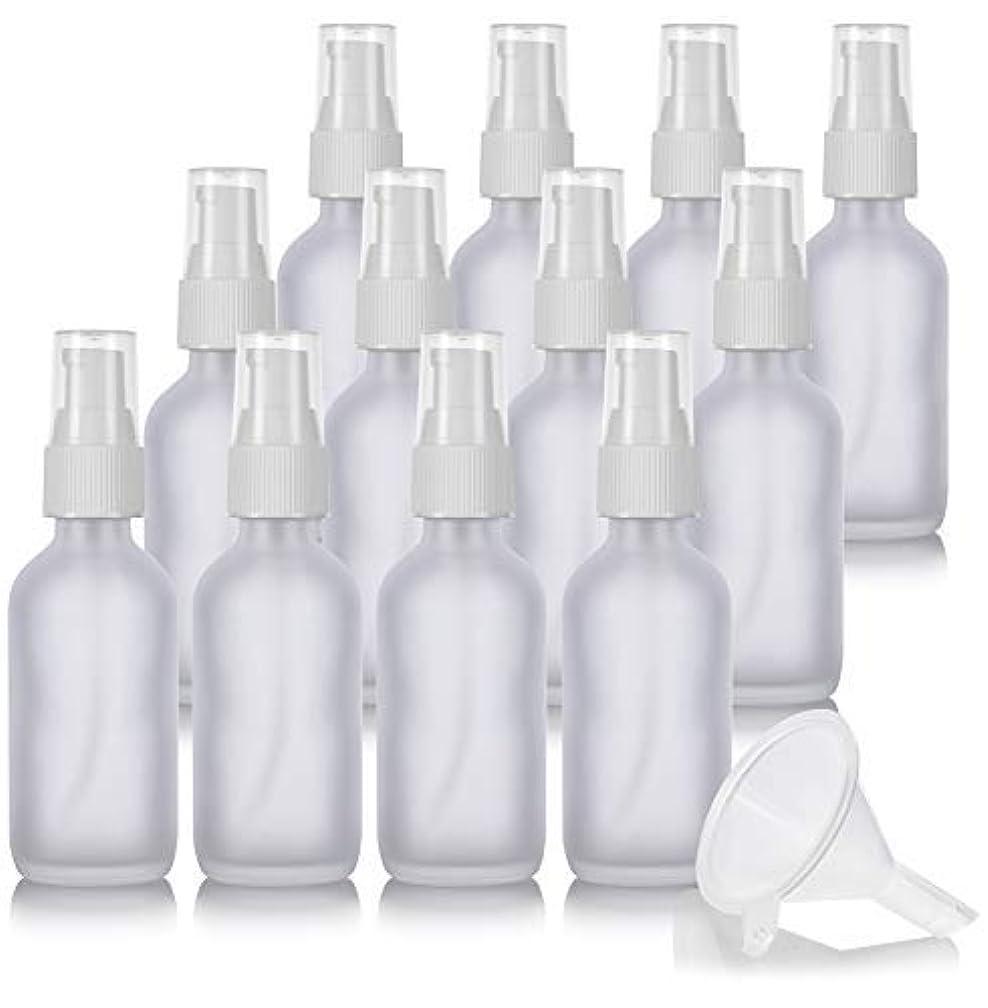 スクリーチ結核特異性2 oz Frosted Clear Glass Boston Round White Treatment Pump Bottle (12 Pack) + Funnel and Labels for Cosmetics,...