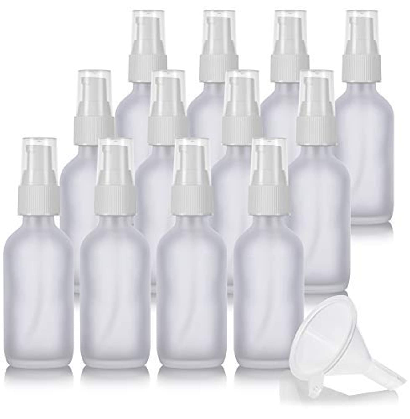 メッセージ消費地区2 oz Frosted Clear Glass Boston Round White Treatment Pump Bottle (12 Pack) + Funnel and Labels for Cosmetics,...