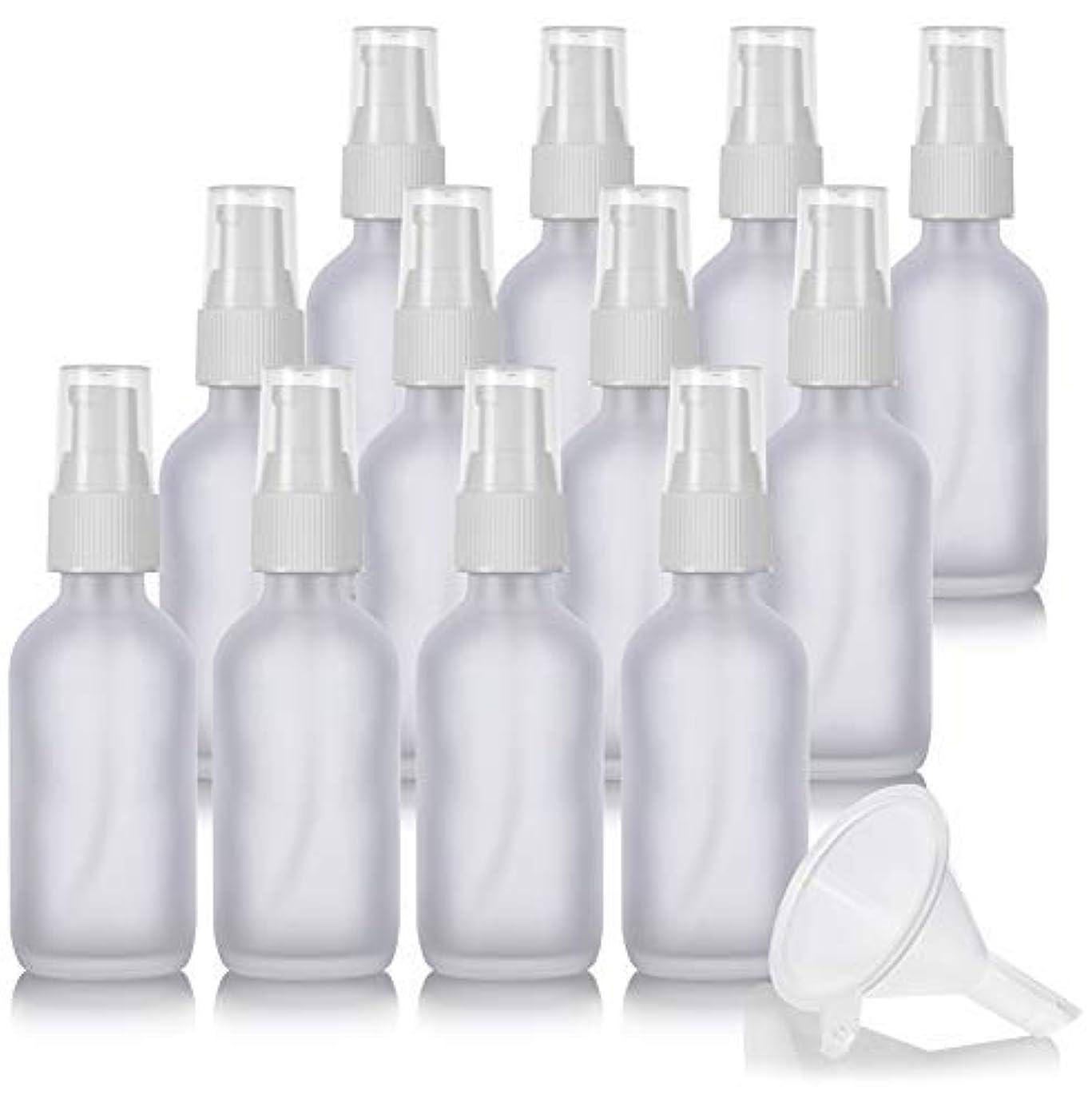子猫一目騒ぎ2 oz Frosted Clear Glass Boston Round White Treatment Pump Bottle (12 Pack) + Funnel and Labels for Cosmetics,...