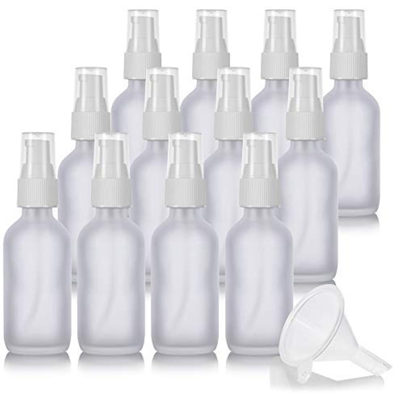 完全に乾く呼吸不振2 oz Frosted Clear Glass Boston Round White Treatment Pump Bottle (12 Pack) + Funnel and Labels for Cosmetics,...