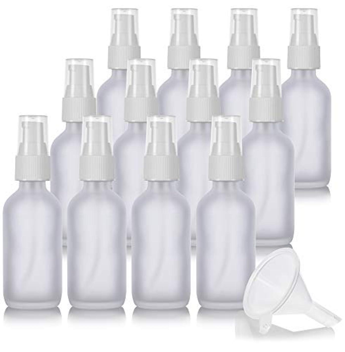 キャンドル探す好ましい2 oz Frosted Clear Glass Boston Round White Treatment Pump Bottle (12 Pack) + Funnel and Labels for Cosmetics,...
