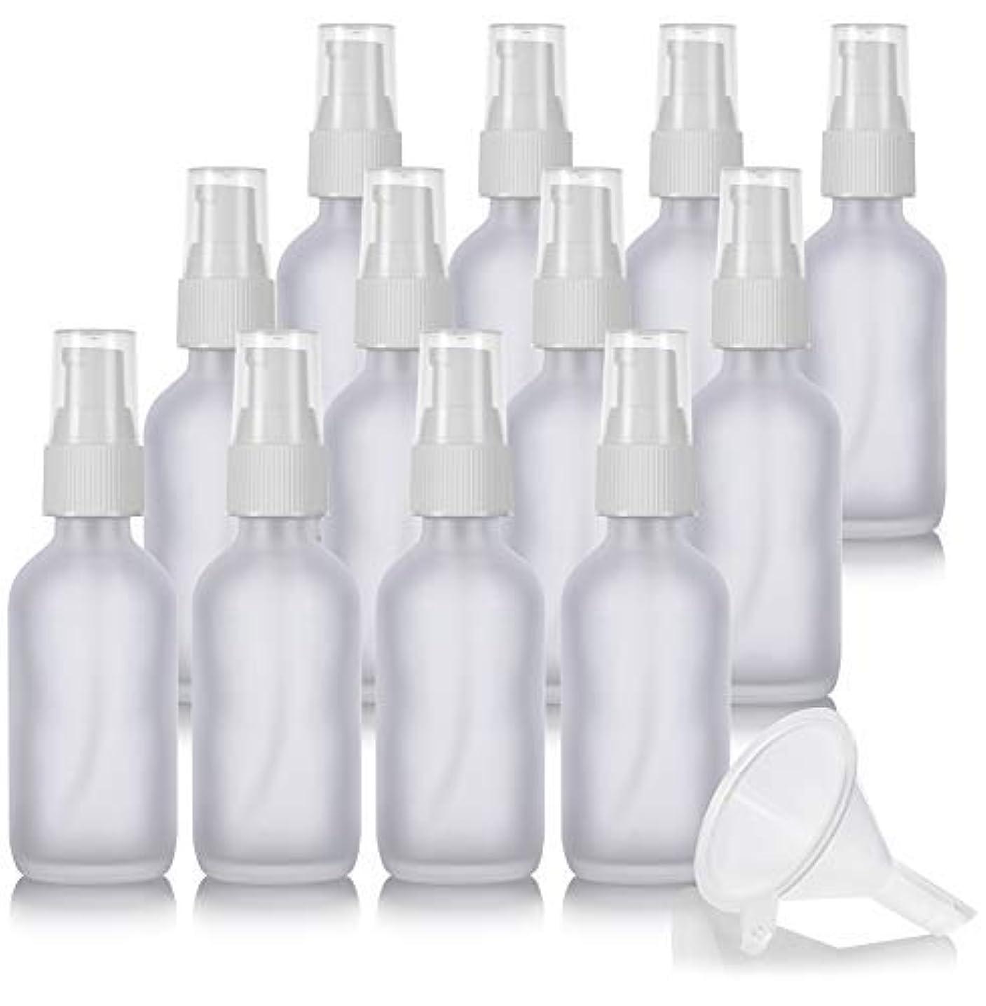 友情実際少し2 oz Frosted Clear Glass Boston Round White Treatment Pump Bottle (12 Pack) + Funnel and Labels for Cosmetics,...