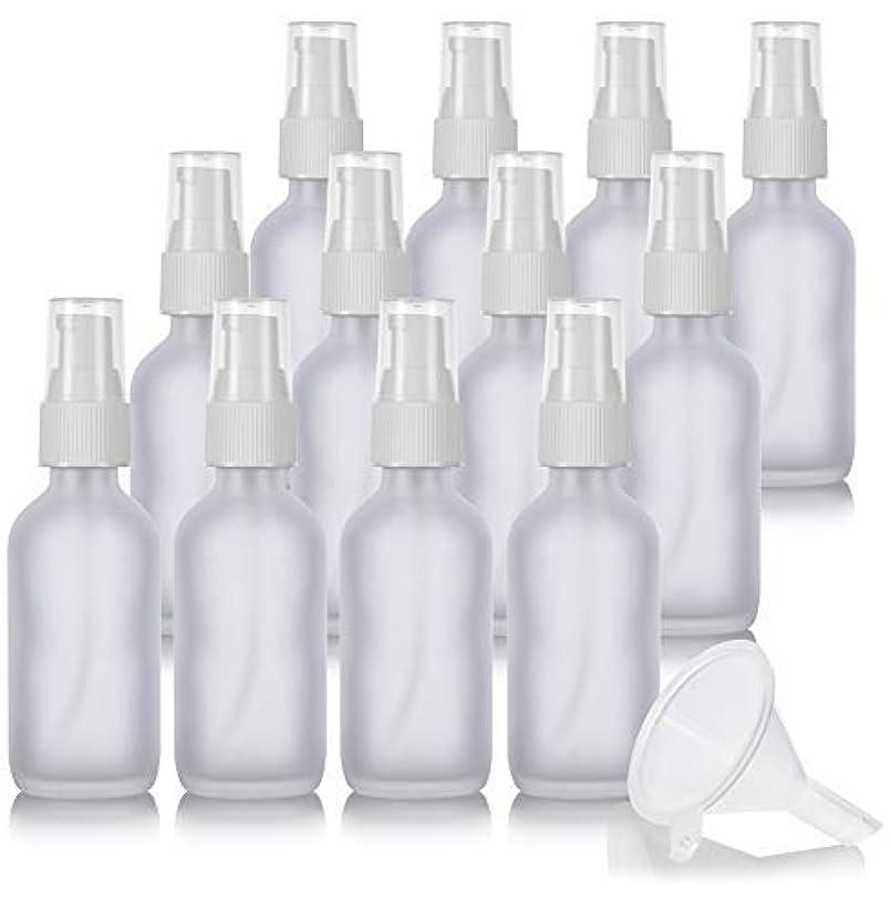 鏡あいまい遊び場2 oz Frosted Clear Glass Boston Round White Treatment Pump Bottle (12 Pack) + Funnel and Labels for Cosmetics,...