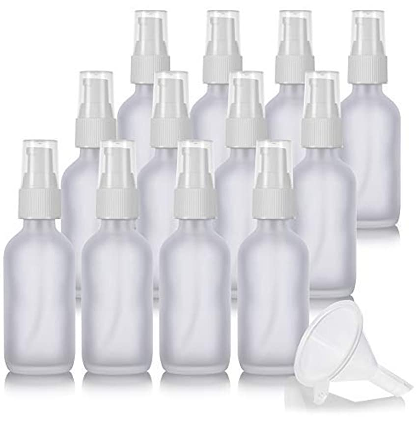 2 oz Frosted Clear Glass Boston Round White Treatment Pump Bottle (12 Pack) + Funnel and Labels for Cosmetics,...
