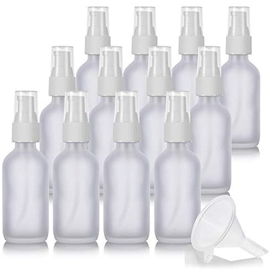 変化何よりも気体の2 oz Frosted Clear Glass Boston Round White Treatment Pump Bottle (12 Pack) + Funnel and Labels for Cosmetics,...