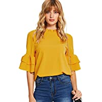 Milumia Women's Half Sleeve Frill Neck Keyhole Back Work Blouse Top