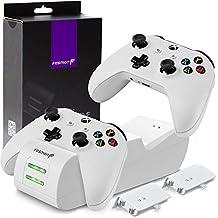 Fosmon Xbox One / One X / One S / Elite ワイヤレスゲームコントローラー用 充電スタンド デュアルクイック充電器 充電チャージャー ステーション + 2個1000mAh充電式互換バッテリー 充電池【USB式充電ドックホルダー | 2台同時充電対応可能 | LEDインジケータ】 (ホワイト)
