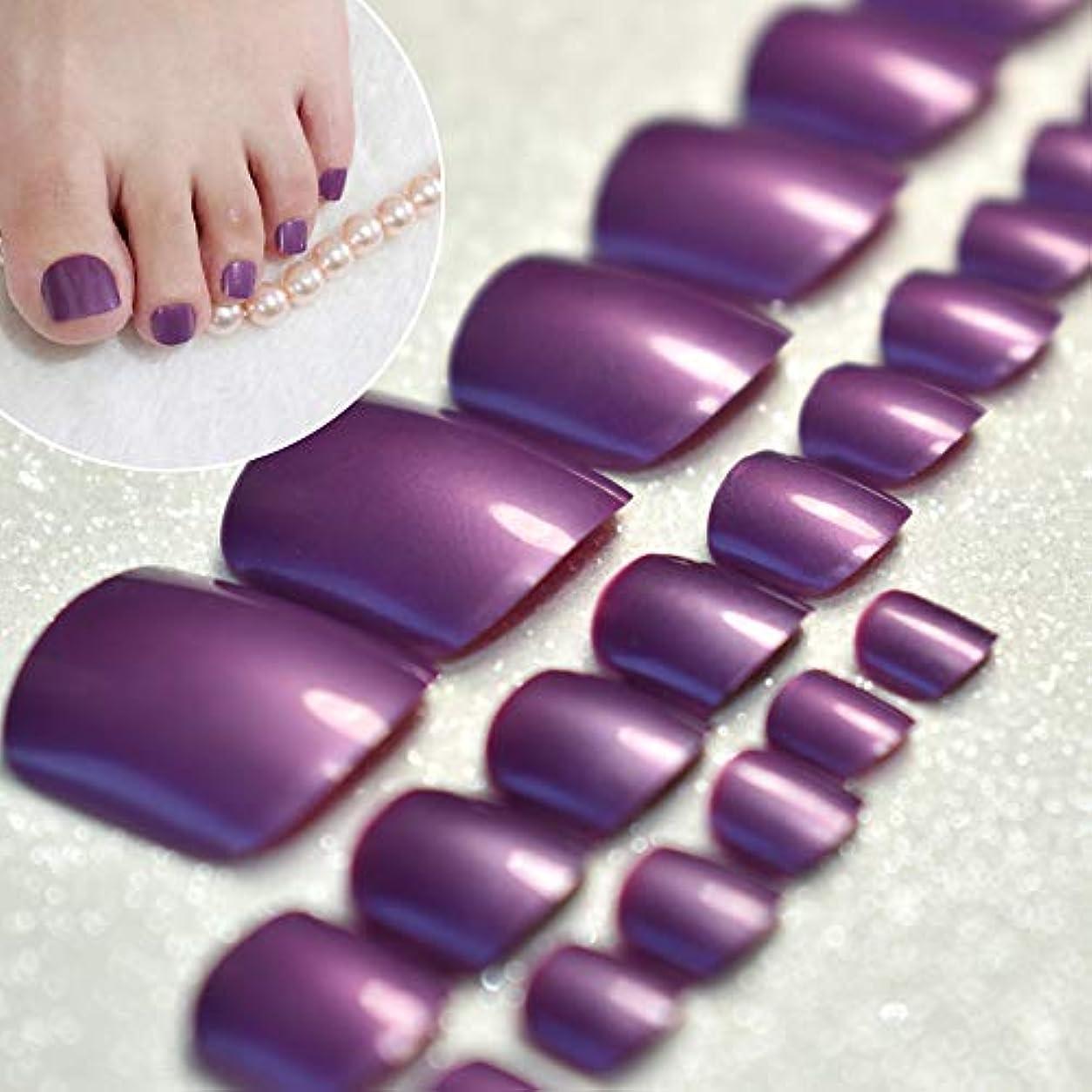 ソーシャル後世強制的XUTXZKA 足の爪のためのきらめく光沢のあるグレープパープルネイルのヒント足のためのお菓子祭りの偽の足指24本