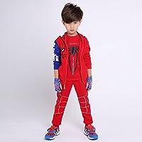 スパイダーマンパーカー 子供服 スパイダーマンジャージ 男の子 女の子 上下セット 男女兼用 3点セット キッズ 春秋物 (140, レッド)