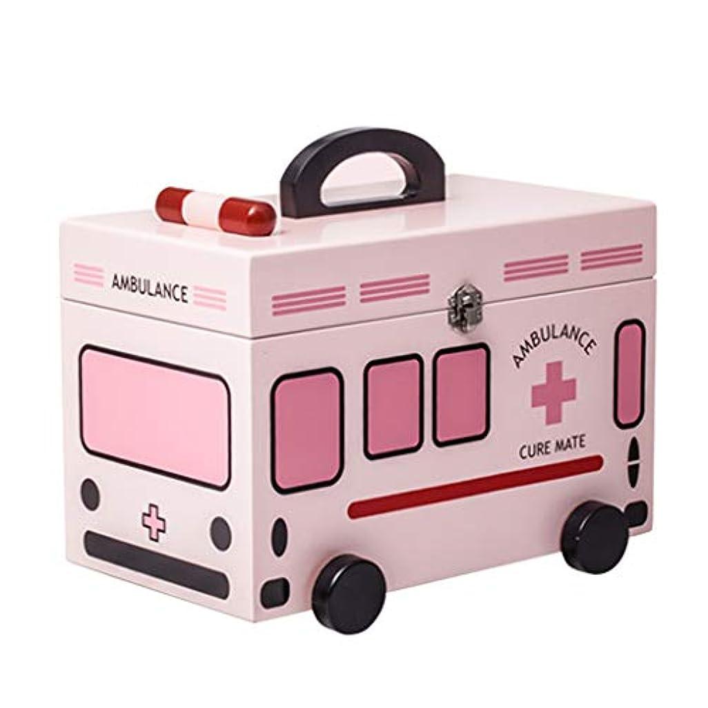 アラブ人旋律的ステレオタイプ薬収納ボックス、木製救急箱ボックスケース医療収納ボックス子ピルボックスポータブルハンドル&取り外し可能なトレイピルボックス-32 * 18 * 21cm(3色)