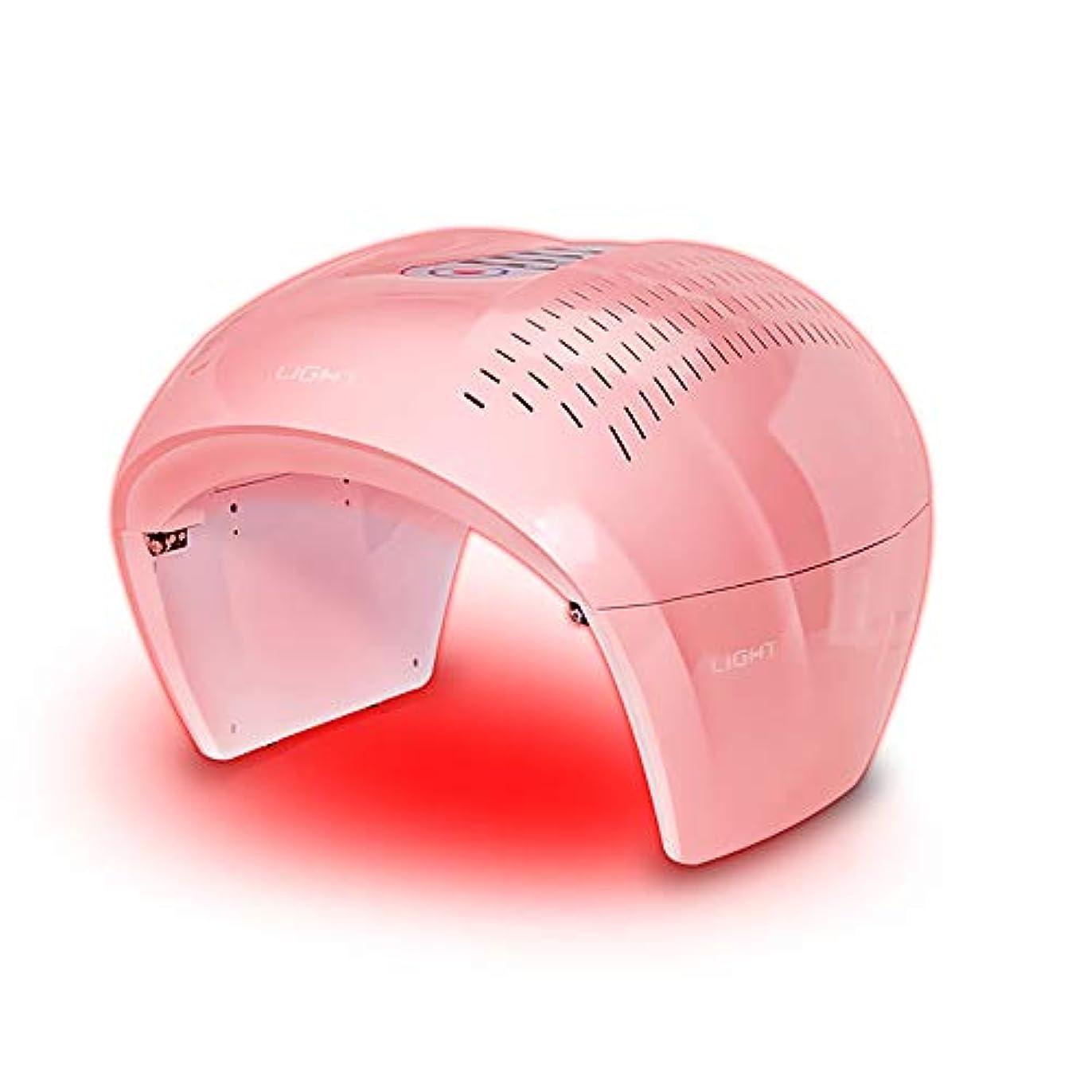 曲げる生物学任意フェイシャルスキンケアマスク、7色LEDマスクフォトンライトスキンリジュビネーションセラピーフェイシャルスキンケアマスク(ピンク)