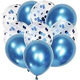 Citron コンフェッティ 風船 誕生日 飾り付け バルーン 飾り ラテックスバルーン 紙吹雪 バルーン ミックス セット パーティー 結婚式 プロポーズ 記念 (2種類ミックス ブルー)