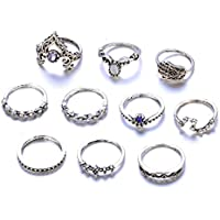 BEE&BLUE レトロ 彫刻 指輪 リング レディース アクセサリー 個性 ダイヤモンドリング 10個セット
