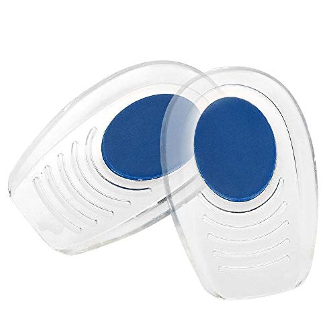 兵隊覚醒閉じるソフトインソール かかと痛みパッド   シリコーン衝撃吸収ヒールパッド (滑り止めテクスチャー付) ブルー パッドフットケアツール (S(7*10.5CM))