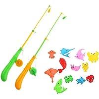 Kesoto 魚釣り プラスチック製 子ども キッズフィッシング玩具 磁気 釣りプレイセット 全14点パック