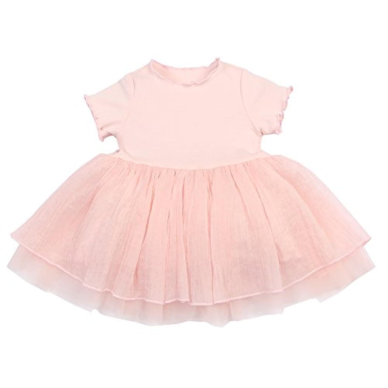 mikistory ベビー服 子供服 女の子 春夏秋 可愛い 綿100% 出産祝い 幼児 新生児ラインのかわいいワンピース幼児羽毛の袖のかわいいプリンセスステッチメッシュのベビードレス Pink 110cm