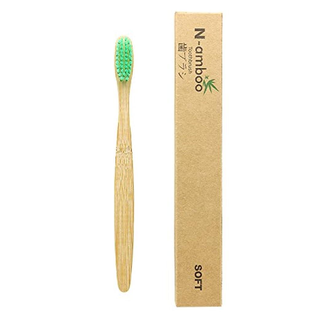 天気偽造豊富にN-amboo 歯ブラシ 1本入り 竹製 高耐久性 緑 エコ
