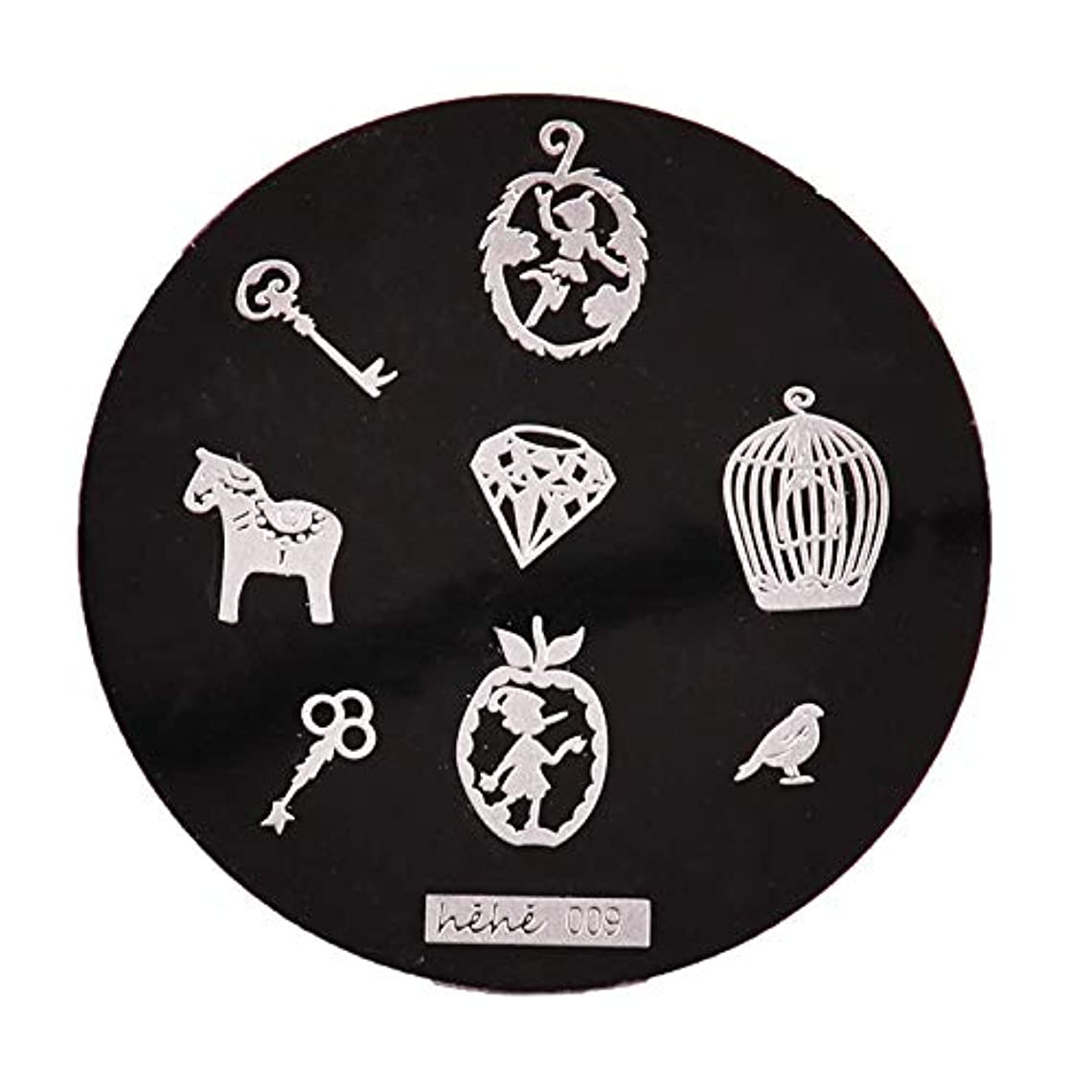 潜む機動増幅器Yoshilimen スマートネイルアートネイル丸板印刷プレート(None 09)
