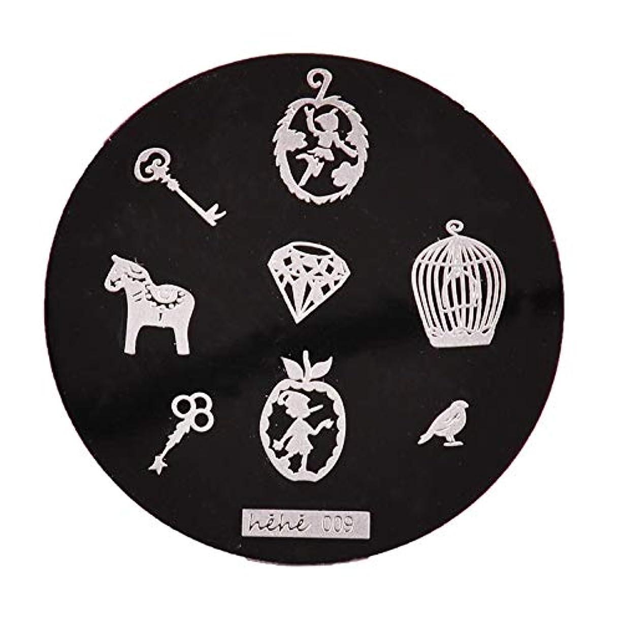 刻む急流付属品Yoshilimen スマートネイルアートネイル丸板印刷プレート(None 09)