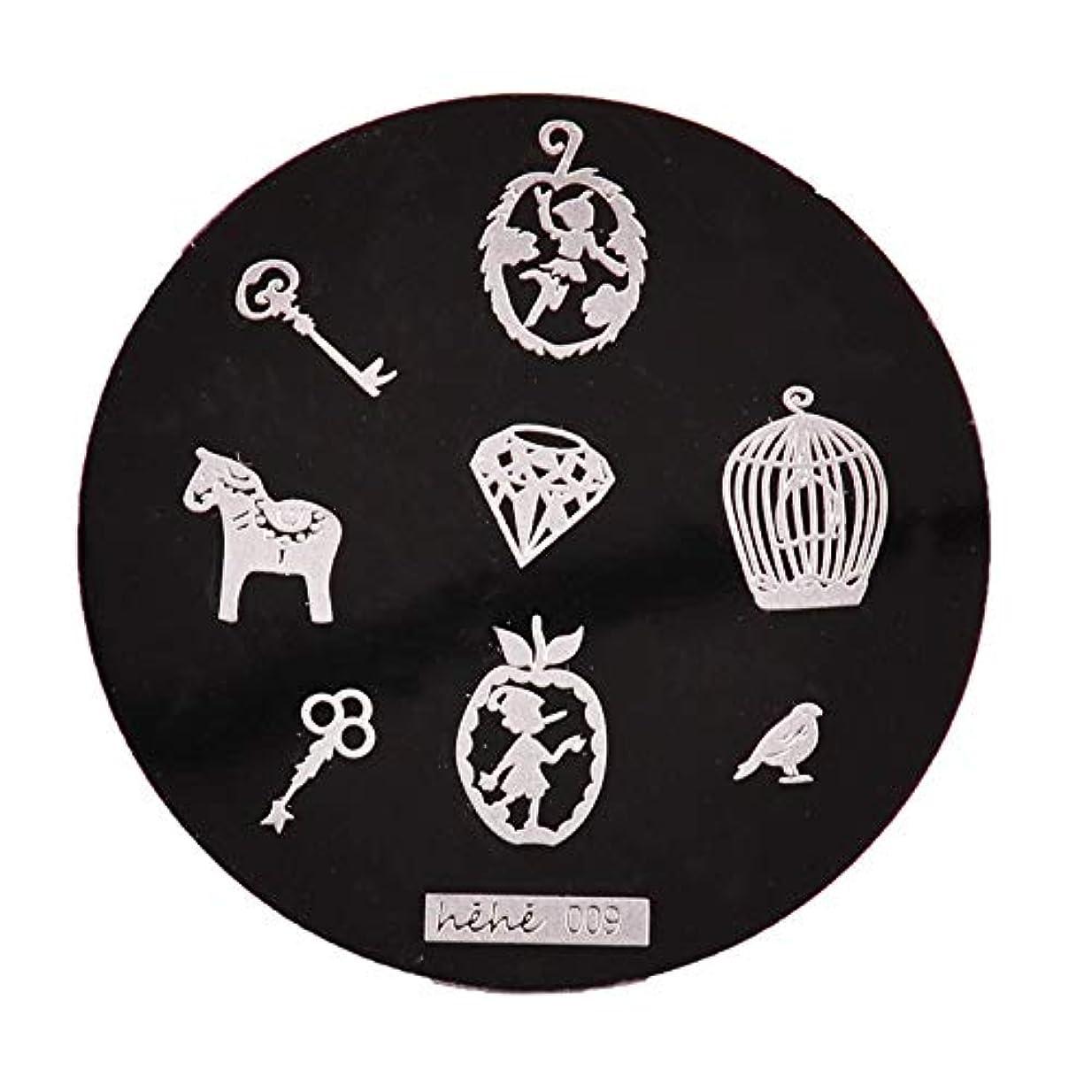 ハンサムに勝るジャンルYoshilimen スマートネイルアートネイル丸板印刷プレート(None 09)
