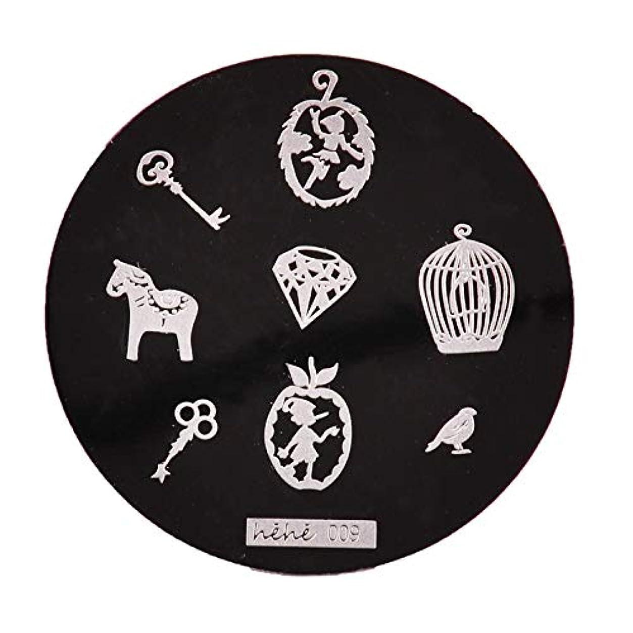 くすぐったい戸惑う行商Yoshilimen スマートネイルアートネイル丸板印刷プレート(None 09)