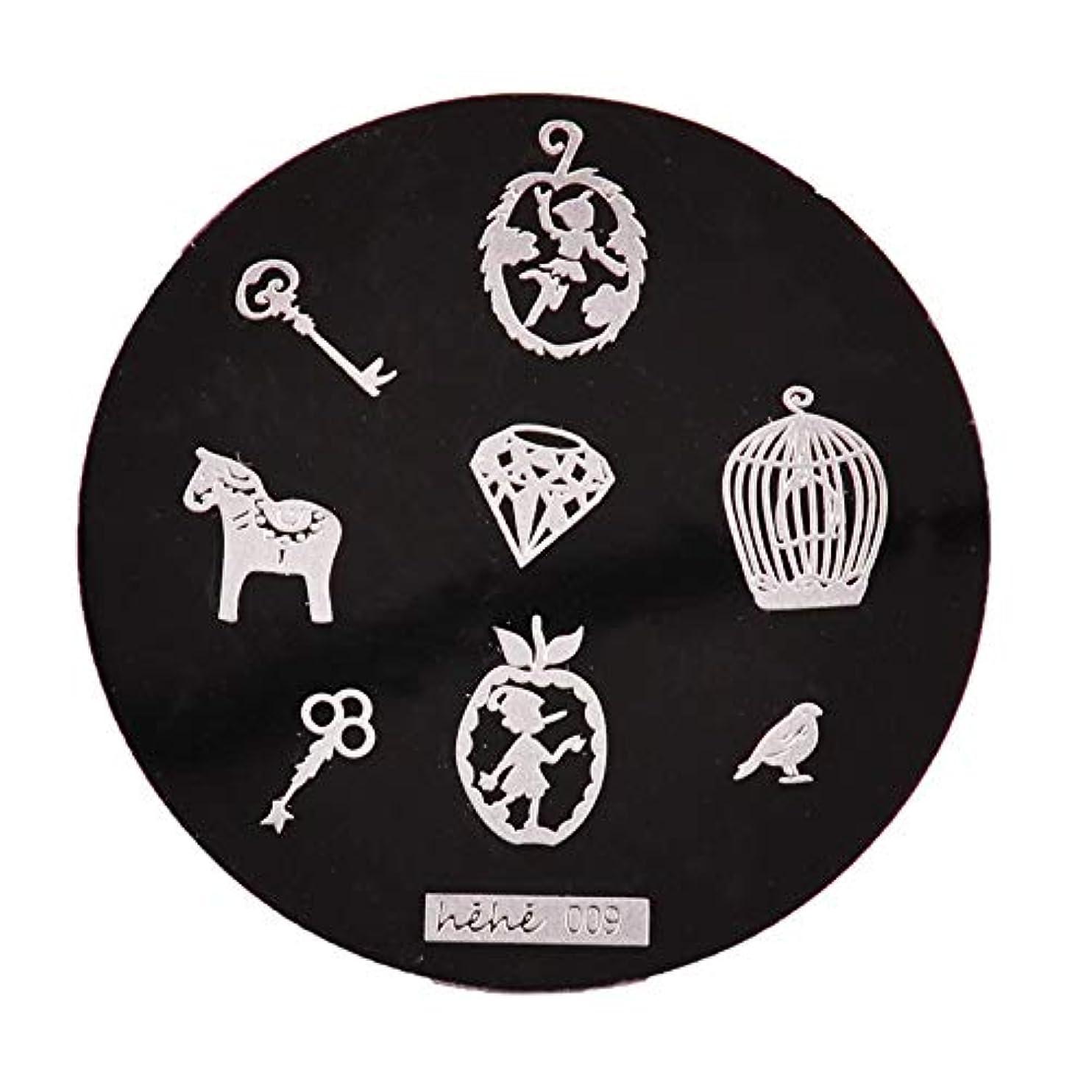 相対性理論西壮大Yoshilimen スマートネイルアートネイル丸板印刷プレート(None 09)