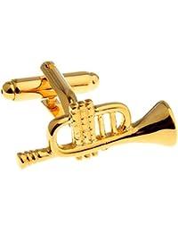 ゴールドトランペットジャズ音楽オーケストラバンドSymphony Cufflinks +ボックス&クリーナー