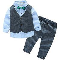 Fashion Gentleman Boys Clothing Sets Cotton Long Sleeve Bowtie Shirts +Vest+Pants