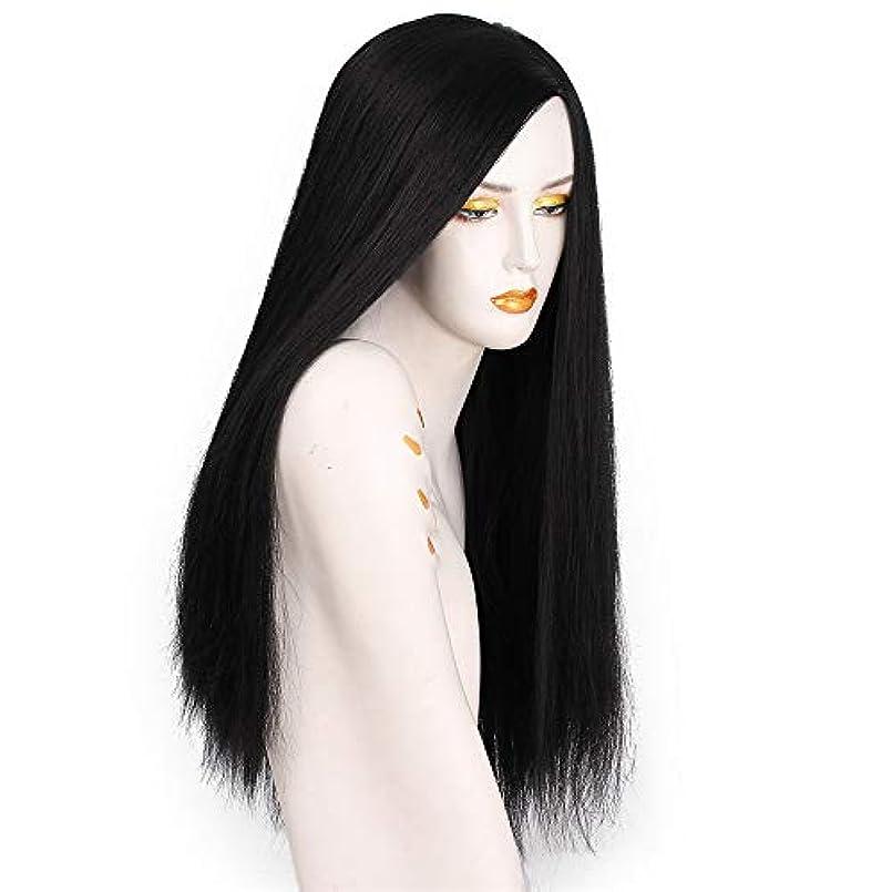 銃天のワットヘアピース女性ストレート長いnatrualブラック用女性耐熱合成繊維偽毛コスプレハロウィン60センチ