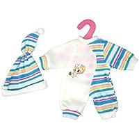 ノーブランド品  ハーフ ストライプ ジャンプスーツ  + ハット パジャマ  衣類  14-16インチ人形用 2色選べる - ブルー