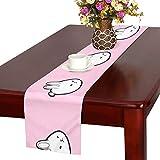 GGSXD テーブルランナー 面白い ピンクうさぎ クロス 食卓カバー 麻綿製 欧米 おしゃれ 16 Inch X 72 Inch (40cm X 182cm) キッチン ダイニング ホーム デコレーション モダン リビング 洗える