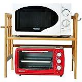 キッチン棚電子レンジラックオーブン棚スパイススタンド竹の木シングルレイヤーフロアスタンディング 香味料入れ