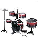HXGL-ドラム ドラム子供初心者ドラム楽器啓発男の子と女の子ジャズ音楽玩具3-6歳 (色 : BLACK AND RED, サイズ さいず : L l)