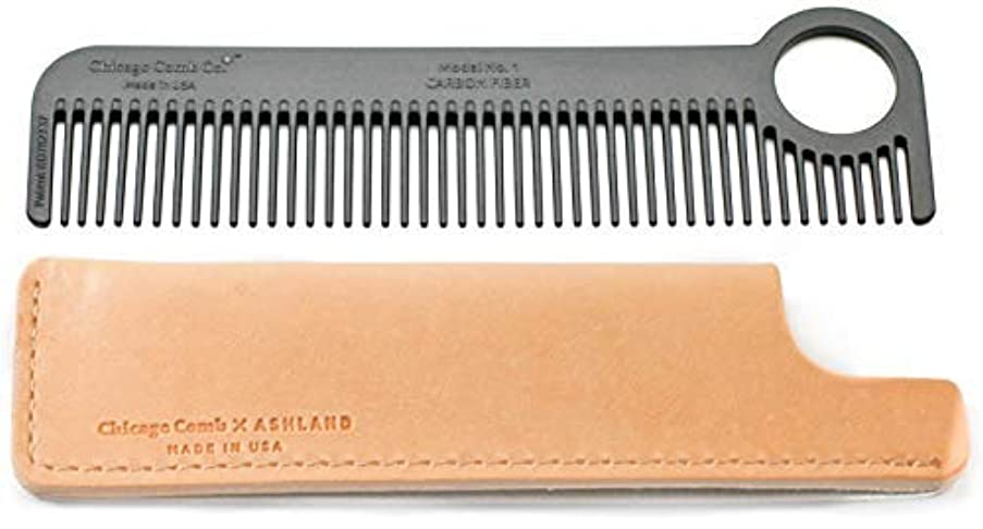 木傭兵甘味Chicago Comb Model 1 Carbon Fiber Comb + Essex Natural Horween leather sheath, Made in USA, ultimate pocket and...