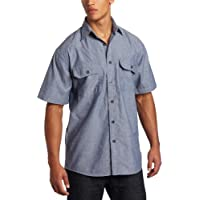 Key Apparel Men's Short Sleeve Button Down Wrinkle Resist Chambray Shirt